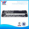 placa de metal de encargo, placa de identificación electrónica, placa de identificación del motor eléctrico