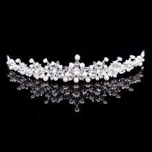 Bridal tiara wedding hair crown 2015 Silver Alloy Rhinestone And Pearl Crown Design Bridal Tiara