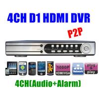 P2P Security 4CH H.264 D1 Realtime Recording 1080P HDMI Network CCTV DVR video recorder 4ch Alarm Audio PTZ Control