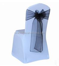 cheap spandex chair cover with black self-tie organza chair sash