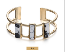 Gold cuff bangle zinc alloy women white turquoise bangle 2015 concise stone series trendy hand jewelry