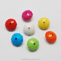 Mixed Opaque Acrylic Faceted Abacus Beads, 12x6mm, 50pcs/bag(X-SACR-S640-M)