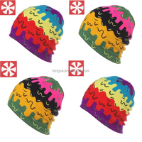 2015 New Products GS0020 Colorful Graffiti Elastic Knitted Skiing Braided Ribbed Beanie Hat for Unisex