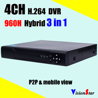 Security Digital Video Recorder 4ch D1 H.264 DVR HVR NVR 3 in 1 support Arabic Hebrew Russian P2P network for CCTV System