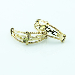 Classical 18K Gold Plated Luxury Stainless Steel Clip on Earrings with Eval Eyes Shapes Stone Jewelry