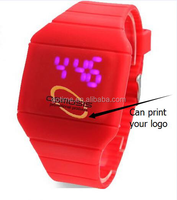 OEM promotional gifts LED digital watch with flashlight,led watch with tricolour lights,q&q led watch