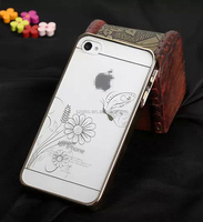 Electroplate Laser Carving Animal Butterfly Flower Pattern Protective Hard Cover Case For iPhone 4 4S