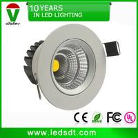free shipping 3 inch white rim 5w cob led downlight warm white ac85-265v
