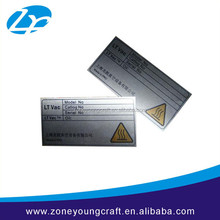 high quality engraved stainless steel nameplate with sticker