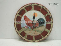 BEST SALE 13-1/8''Dia. Antique Wooden Clock Cock Wall Clock Shabby Clock