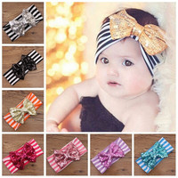 In stock baby large bow turban headband , girls gold sequin bow headband