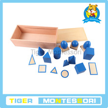 montessori Sensorial material ,wooden toys for kids-Geometric Solids with Stand, Bases, and Box