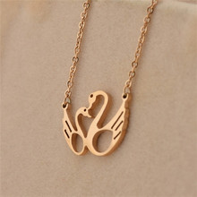 Wholesae 316L Stainless Steel Curved Little Swan Rose Gold Pendant GN10054