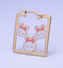 wholesale stainless steel earrings fashion square shape jewelry