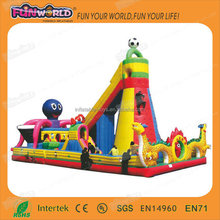 2 years warranty inflatable fun city with rock climbing wall for rental