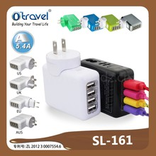 27W 5V/5.4A Family-Sized 4 Port Desktop USB Wall Charger Travel Power Adapter for iPhone 5S 5C 5 4S 4, iPad Air