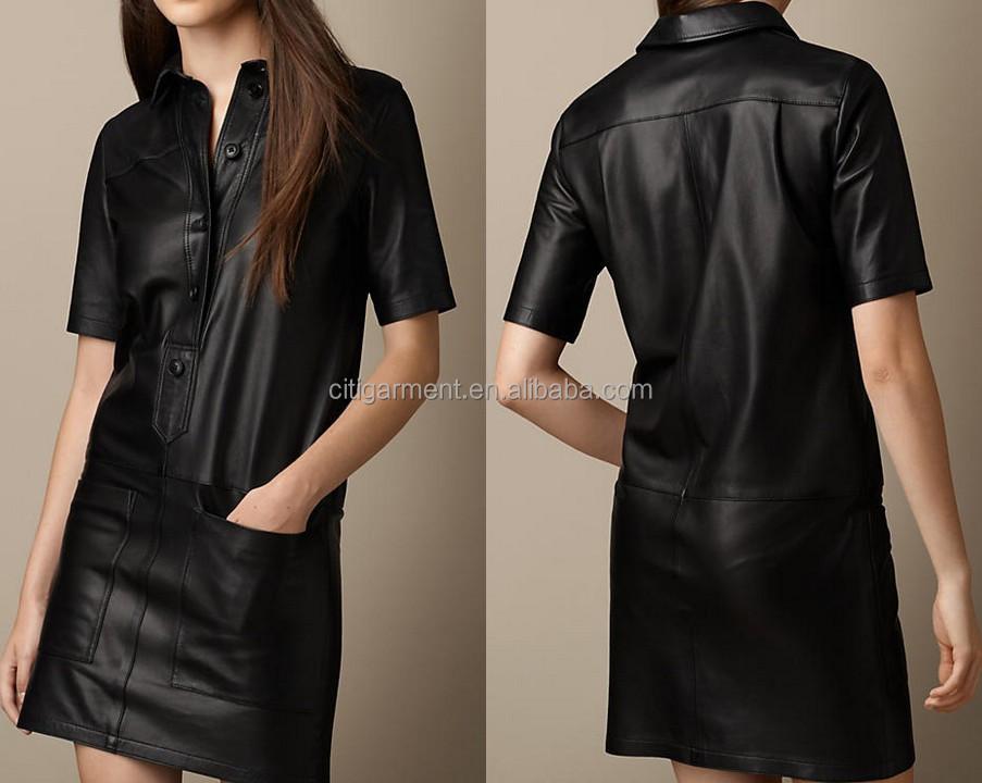 Платье рубашка из кожи