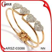 El diseño de joyas pulsera de oro para las niñas joyas de cristal pulsera de acero inoxidable