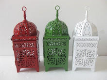 2015 newest metal antique white and black candle lantern