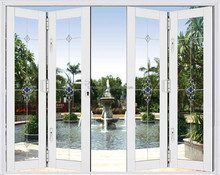 Commercial Double Tempered Glass Aluminum Frame Accordion Windows and Doors