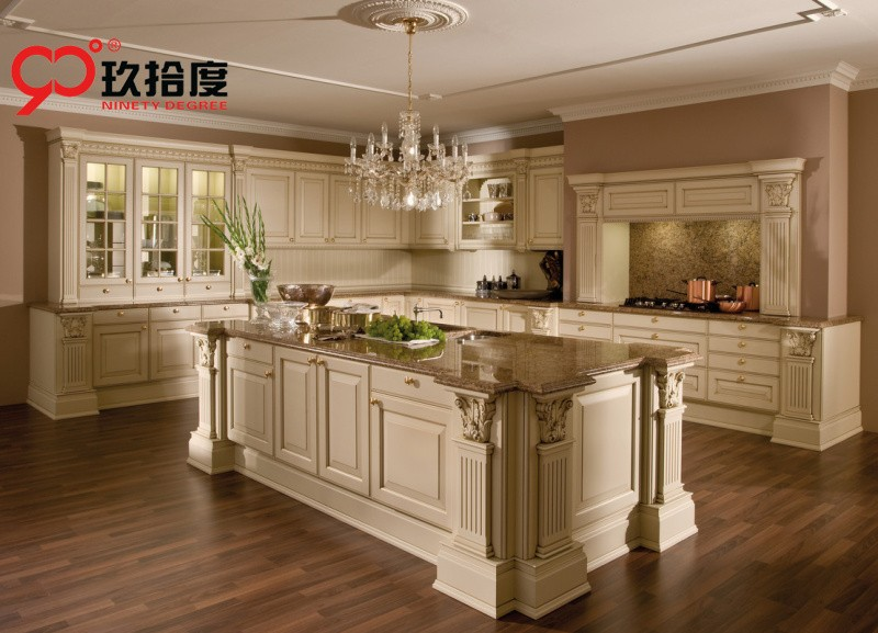 Estilo Europeo de lujo del gabinete de cocina con delicado columna ...