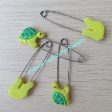 58mm Yellow Plastic Tortoise Animal Metal Pin