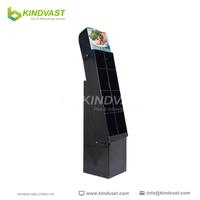 custom temporary digital food six cells pop cardboard paper floor display stand rack unit with pocket