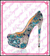 Aidocrysta fashion high platform women stiletto heels,classic royal blue glitter wedding high heel shoes