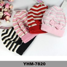 Wholesale beanie witt bow funny crocheted caps baby free pom beanie