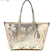 2015 Latest golden hollow out pattern lady tote bag, golden hollow out handbag, golden shoulder bag