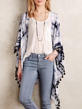 2015 Hot Selling Woman Tie Dyed Loose Blouse Tasseled Kimono