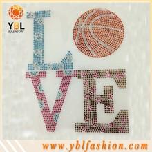 Love Basketball Sport Design SS10-SS16 Rhinestone Motifs For T Shirt