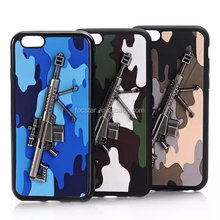 2015 New Design Camouflage Color PU Leather Back Case with 3D Gun Shape for iPhone 6S 6