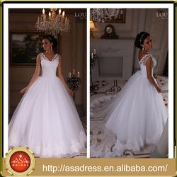LBS-16 Classic Style V Neckline Wedding Dresses Full Length Long Ball Gown Vestido de Novia Vintage Bridal Gown for Weddings