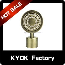 KYOK New design flat round curtain pole finial, crystal curtain rod end caps, wrought iron curtain pipe/tube