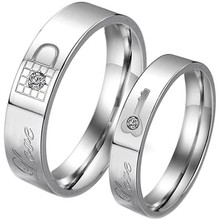 Mens Womens Wedding Band Stainless Steel Cubic Zirconia Key & Lock Love Couples Promise Ring
