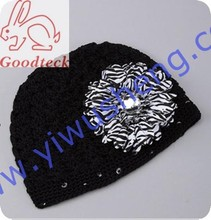 Solid Colors Cotton Baby Zebra Hat Summer Crochet Beanie Boy Funny Hats Baby Caps Child Hat With Flower