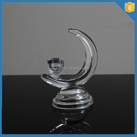 wholesale crackle glass moon shape pillar candle holder