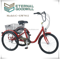 """Adult tricycle/three wheel bicycle/tricycle with basket/three wheel NY-GW7012-6SPX24"""""""