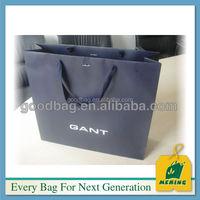 matt laminated black paper bag with pp knot cord handle