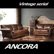 Amercian Style Sofa, Vintage Style Sofa, Leather Living Room Sofa 3 Seater A120