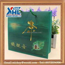 3D green pp gift bag with rope for tea