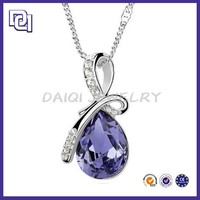 Classical Water Drop Crystal Pendant white Gold plated Necklace