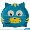Silicone Cute Blue Cat Patterned Swim Caps