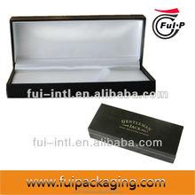 Customized made Plastic with outside leather inside satin velvet pen case, pen packaging box, pen gift box