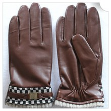 Warm wool lined Mens leather gloves
