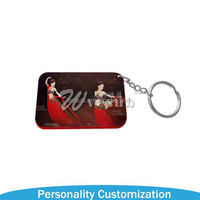 Promotional clear custom sublimation blank plastic photo frame key chain picture insert logo plastic keyring