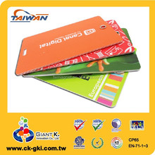 Standard size plastic pvc color sample id card luggage tag