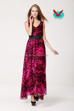 ladies elegant Dual front and rear V vest summer plus size long printed chiffon dress with delicate belt