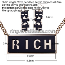 acrylic Rich Letter necklace and Earring set